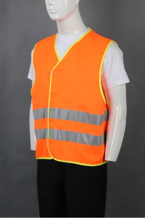 iG-BD-CN-076 来样订制橙色V领工业制服  安全背心外套  设计魔术贴外套 反光条工业制服 工业制服供应商