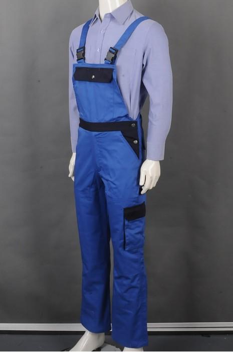 iG-BD-CN-079 订制蓝色连体背带裤工业制服  设计卡扣牢固 长袖POLO恤 多口袋工业制服 工业制服中心