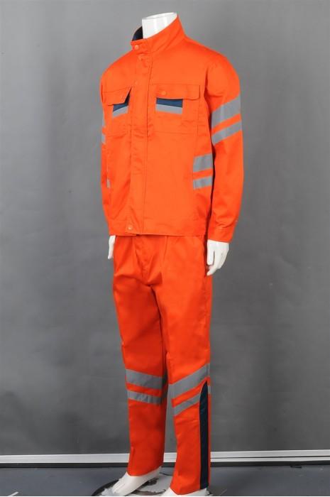 iG-BD-CN-081 订制橙色安全套装工业制服 设计反光条工业制服 工业制服中心