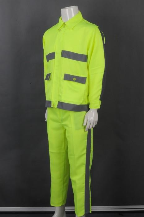 iG-BD-CN-083 订做荧光黄翻领安全套装工业制服 订制裤边反光条工业制服 工业制服专门店