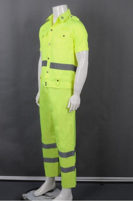 iG-BD-CN-084 订制荧光黄短袖套装工业制服 设计翻领 前胸两侧袋口工业制服 工业制服供应商