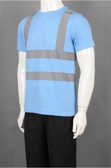 iG-BD-CN-089 订制蓝色短袖工业制服 设计反光条工业制服 工业制服中心