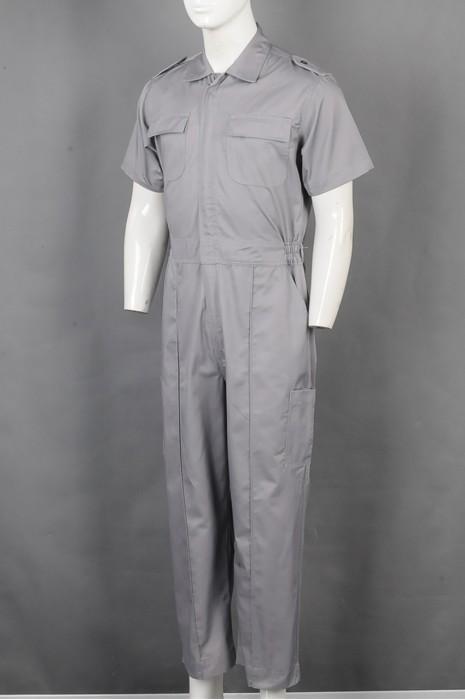 iG-BD-CN-093 订购灰色POLO领连体裤工业制服 设计多口袋工业连体制服 工业制服供应商