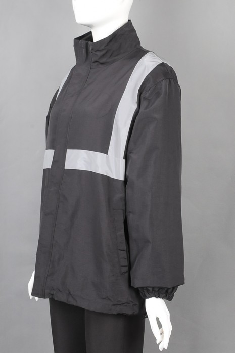 iG-BD-CN-098 订制黑色风衣2合一复合工业制服外套 设计反光条工业制服 工业制服供应商