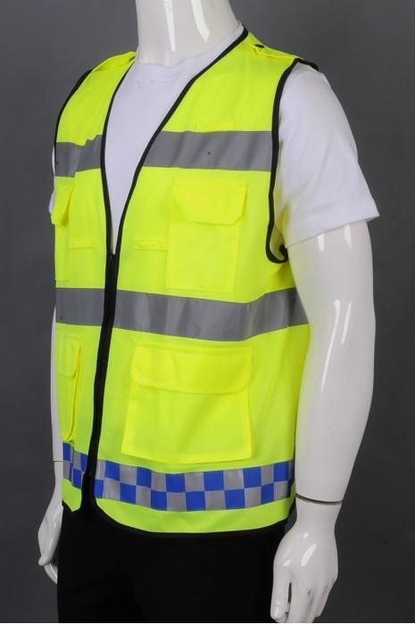 iG-BD-CN-100  来样订制荧光黄V领拉链外套工业制服 订制反光条多口袋工业制服 工业制服中心