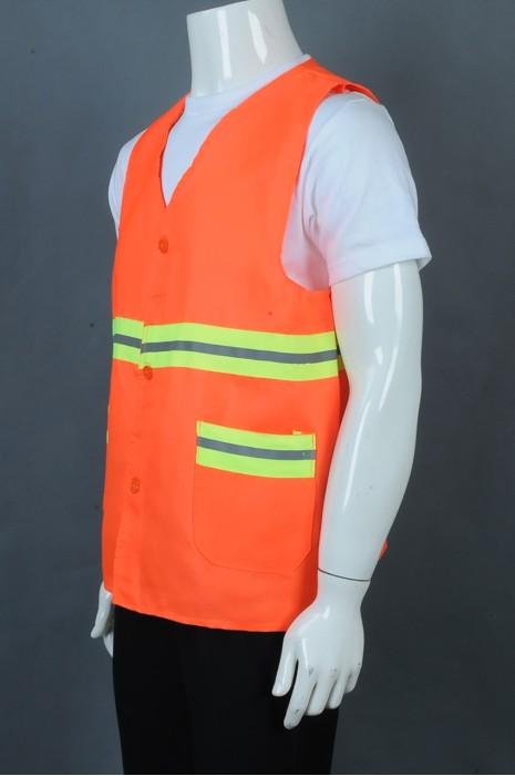 iG-BD-CN-102 订制橙色纽扣V领工业制服 设计反光带工业制服 工业制服供应商