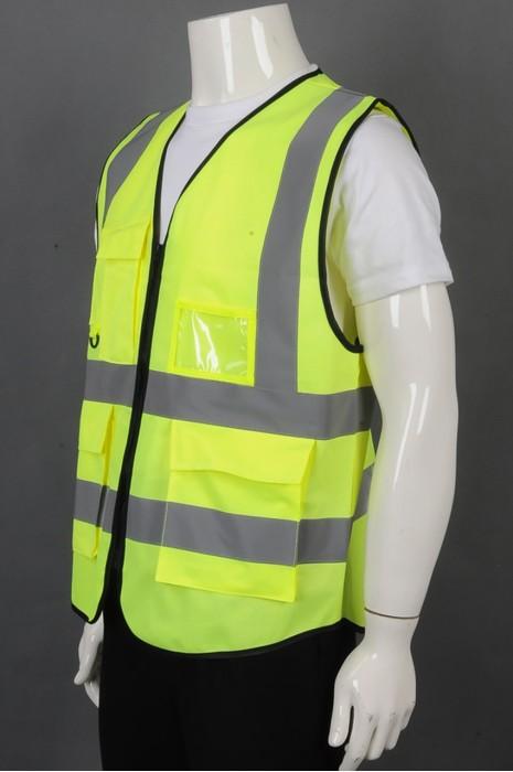 iG-BD-CN-104 订制荧光黄V领拉链背心外套工业制服 设计大容量袋口工业制服 工业制服供应商