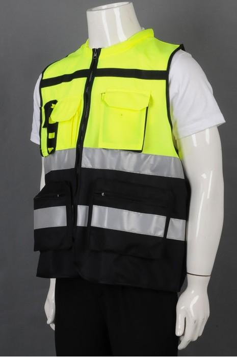 iG-BD-CN-105 制造拼接色背心工业制服外套 时尚拉链袋口工业制服 工业制服中心