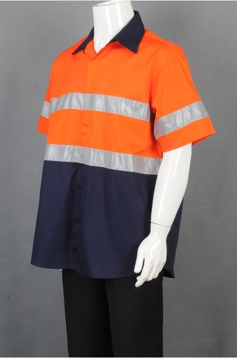iG-BD-CN-108 订制POLO恤安全工业制服 设计拼接色反光条工业制服 工业制服中心