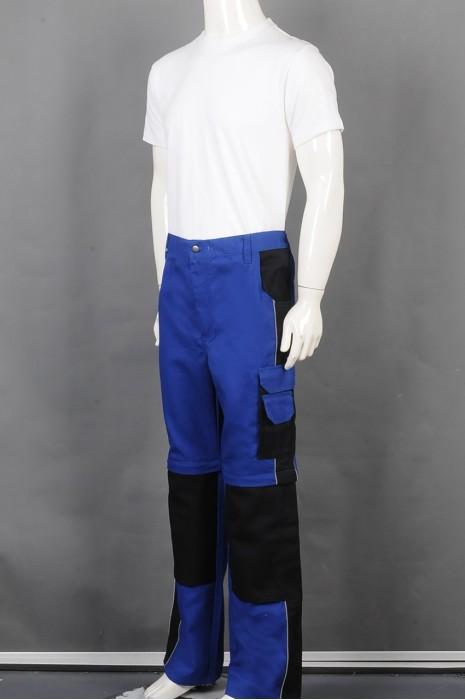 iG-BD-CN-111 订制蓝色拼接色长裤工业制服 设计多功能口袋工业制服 工业制服供应商