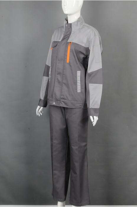 iG-BD-CN-112 制造拼接色长袖套装工业制服  设计拉链外套工业制服 工业制服专门店