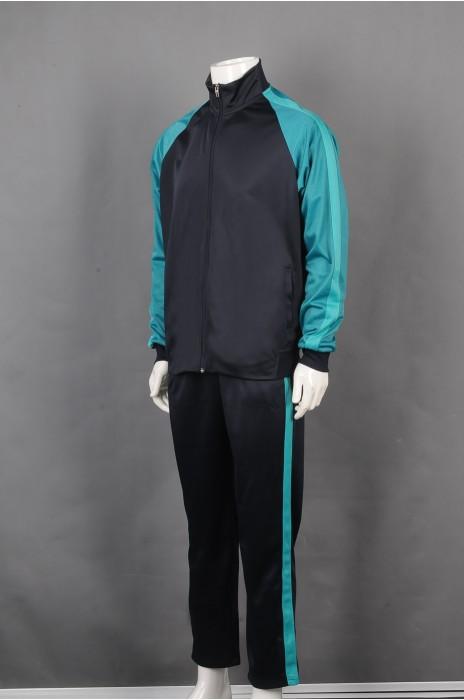 iG-BD-CN-046 订制黑撞绿长袖套装团体制服 设计条纹长袖团体制服  团体制服中心