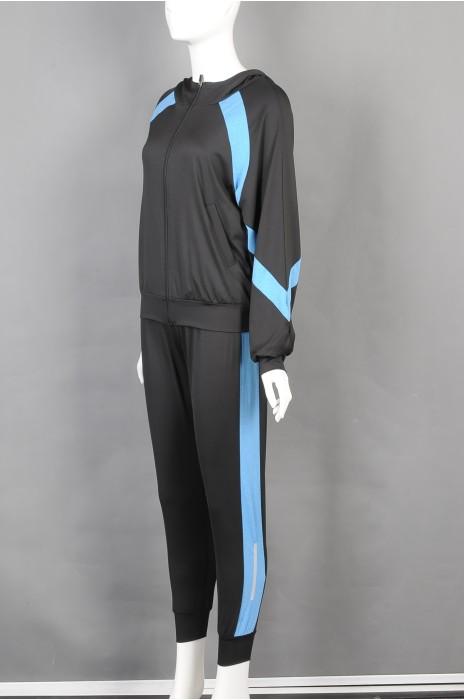 iG-BD-CN-170 制造长袖连帽休闲跑步团体制服套装  时尚紧身运动裤团体制服 团体制服供应商