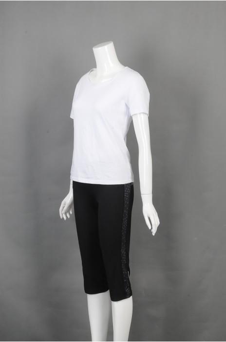 iG-BD-CN-176 设计五分紧身裤运动套装 订制白色圆领T恤团体制服 团体制服供应商