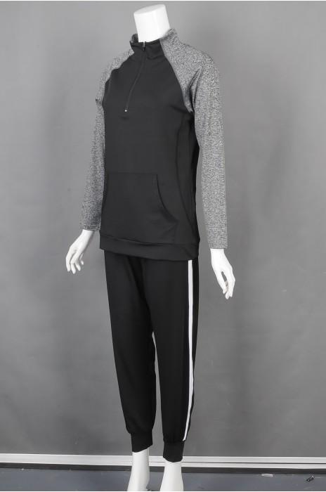 iG-BD-CN-179 网上下单订购黑撞灰长袖运动套装 设计腰围橡筋抽绳团体制服 团体制服供应商