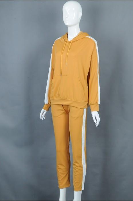 iG-BD-CN-182 网上下单订购黄色连帽抽绳团体制服 设计束袖团体制服 团体制服专门店