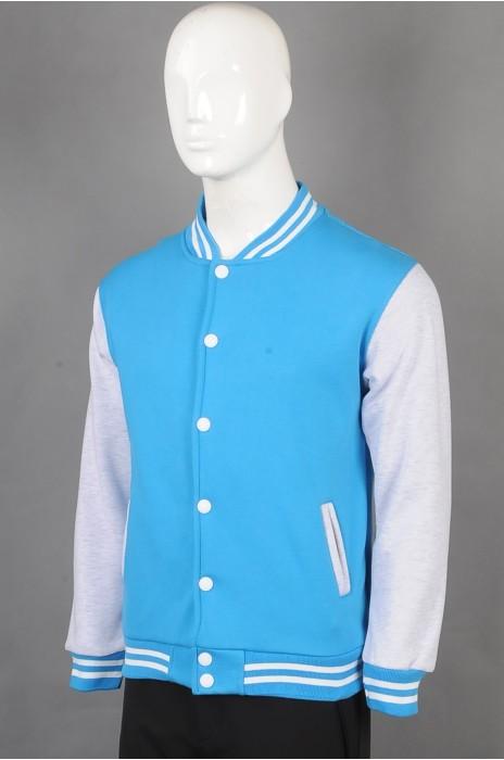 iG-BD-CN-207 订制蓝色棒球褛团体制服 设计拼接色袖团体制服 团体制服中心