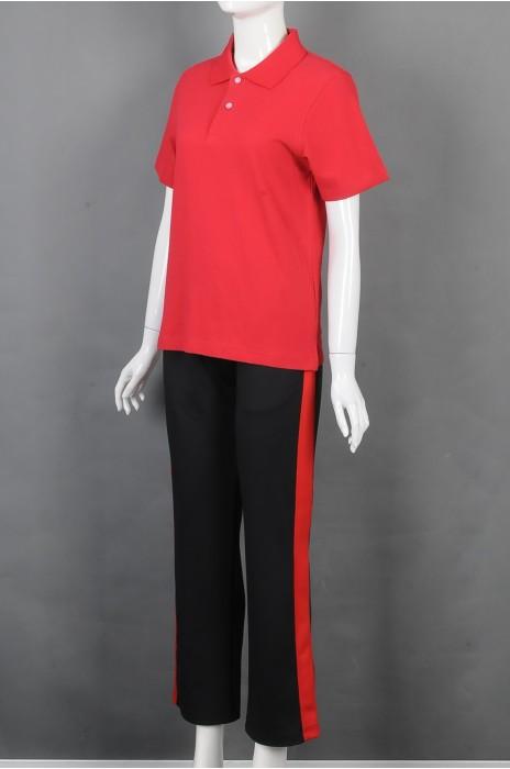 iG-BD-CN-206 订做短袖团体制服 设计红色POLO领团体制服 团体制服供应商