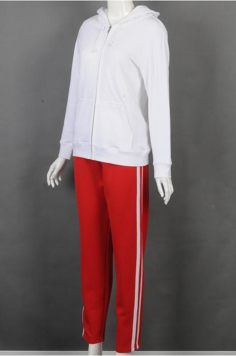 iG-BD-CN-205 制造白色连帽外套团体制服 订做红色长裤团体制服 团体制服供应商