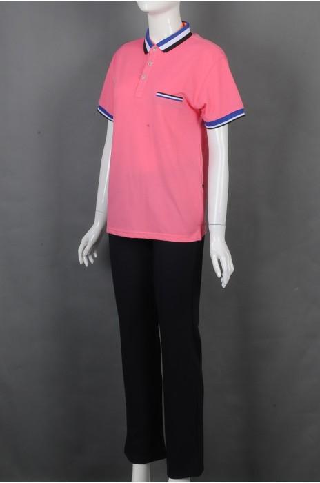 iG-BD-CN-204 订制粉色短袖团体制服 设计POLO领团体制服 团体制服供应商