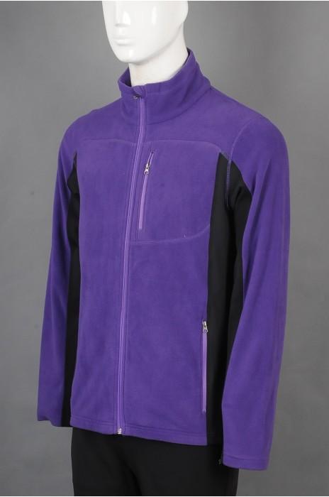 iG-BD-CN-198 订做紫色拉链外套团体制服 设计撞色团体制服 团体制服供应商