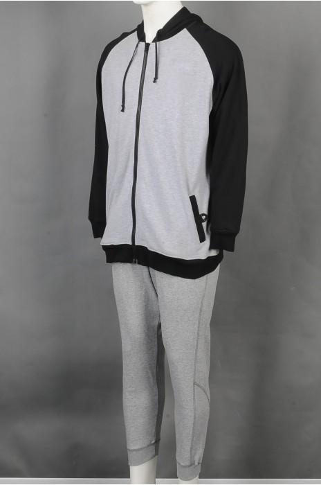 iG-BD-CN-196 订制连帽拼接运动团体制度 设计灰色束脚长裤团体制服 团体制服供应商