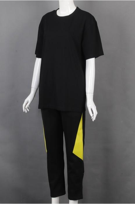 iG-BD-CN-194 设计黑色圆领短袖团体制服 制造裤脚拉链团体制服 团体制服供应商