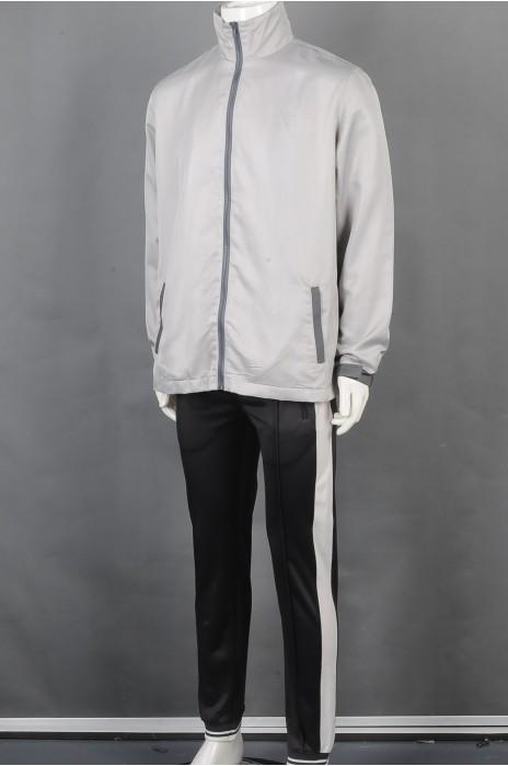 iG-BD-CN-191 订制灰色拉链团体制服 设计黑色长裤团体制服 团体制服生产商