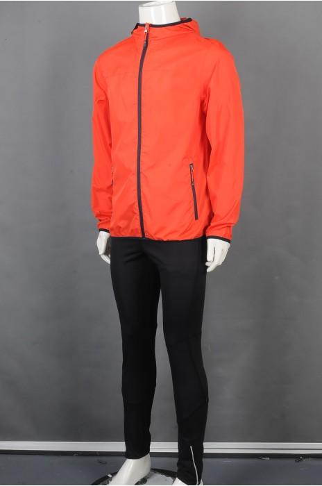 iG-BD-CN-190 订制橘色外套团体制服 设计连帽团体制服 团体制服生产商