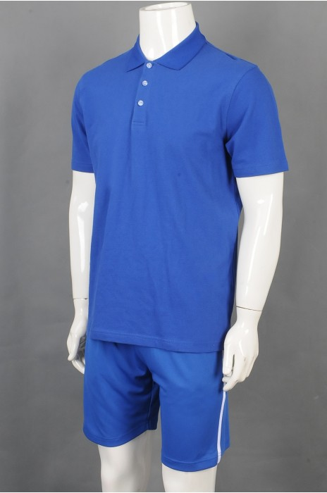 iG-BD-CN-189 订制蓝色短袖团体制服 设计短裤抽绳团体制服 团体制服供应商