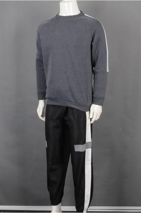 iG-BD-CN-186 订制灰色卫衣团体制服 设计黑色长裤反光条团体制服 团体制服供应商