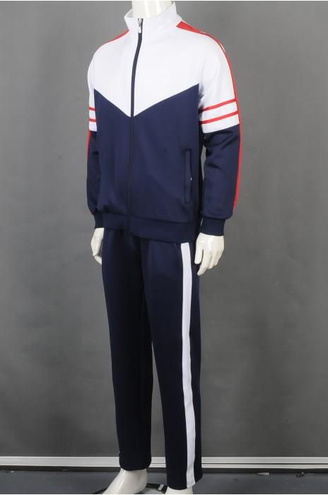 iG-BD-CN-185 订制拼接色长袖长裤套装团体制服 设计拉链外套团体制服 团体制服中心