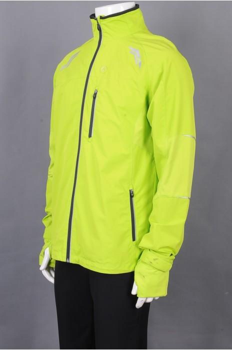 iG-BD-CN-184 订制绿色长袖拉链外套团体制服 设计叉口袖团体制服 团体制服中心
