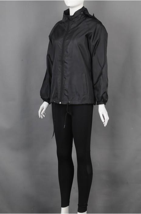 iG-BD-CN-183 订制黑色风衣连帽抽绳团体制服 设计紧身长裤团体制服 团体制服生产商