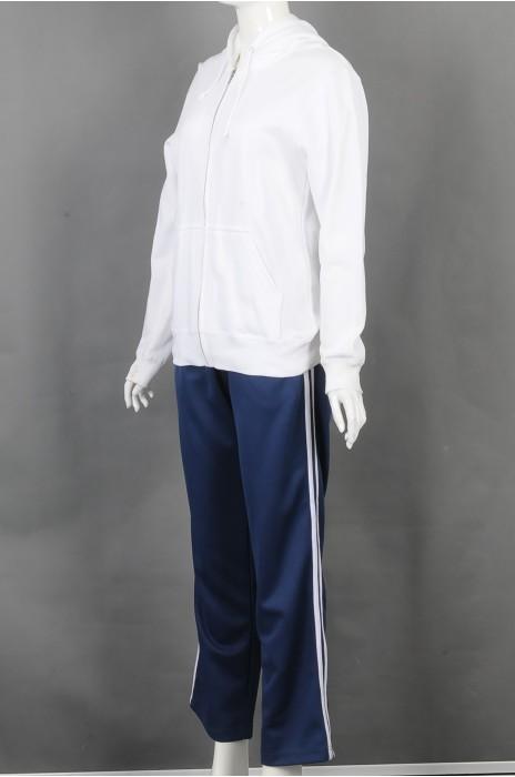 iG-BD-CN-181 订制白色连帽拉链卫衣运动套装 设计蓝色白边长裤团体制服 团体制服中心