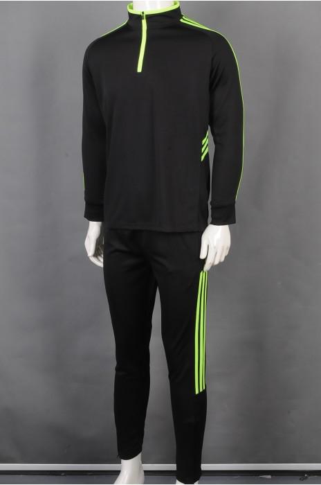 iG-BD-CN-180 订制拉链领团体制服 设计绿色条纹团体制服 团体制服供应商