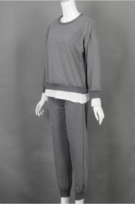iG-BD-CN-177 网上下单订购灰色假两件长袖圆领休闲套装 设计腰围抽绳团体制服 团体制服中心