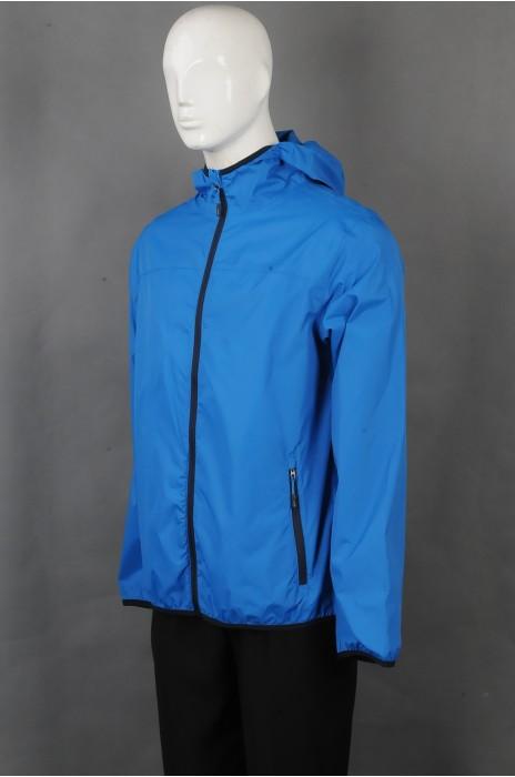 iG-BD-CN-173 订做蓝色连帽长袖外套团体制服 设计黑色拉链袋口团体制服 团体制服供应商