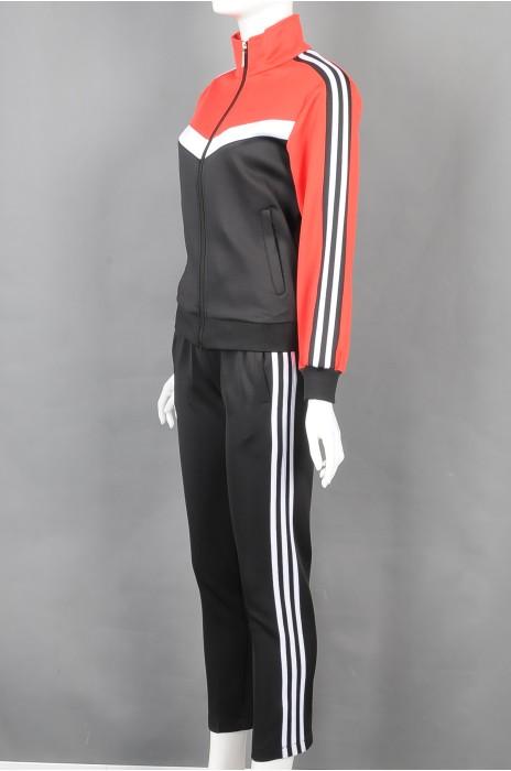 iG-BD-CN-171 制造拼接色翻领长袖运动套装  设计袖边裤边白色条纹团体制服 团体制服中心