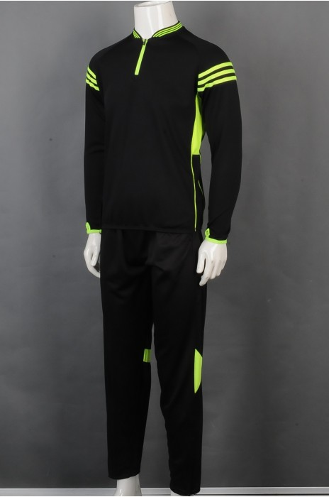 iG-BD-CN-045 制造拉链领长袖团体制服 设计荧光绿边条团体制服 团体制服供应商