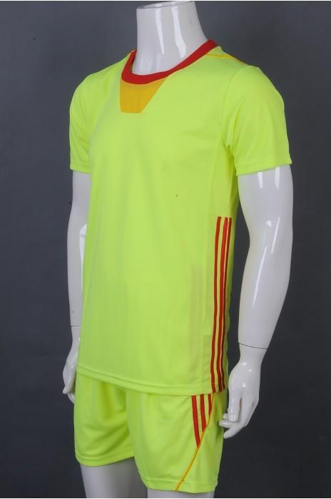 iG-BD-CN-043 制造荧光黄短袖套装运动团体制服  设计红色边条团体制服 团体制服中心