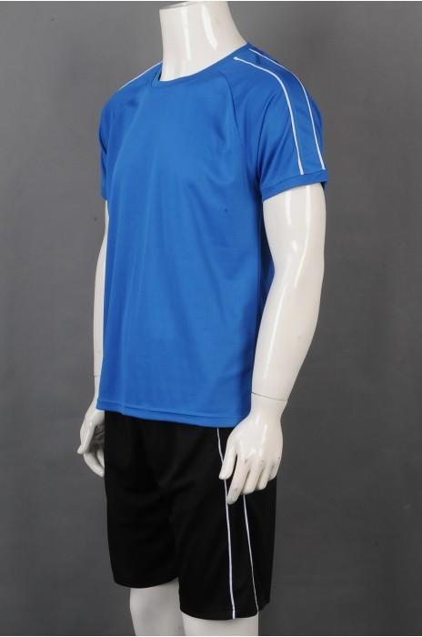 iG-BD-CN-042 订制蓝色短袖圆领运动团体制服 设计黑色短裤白边团体制服 团体制服供应商