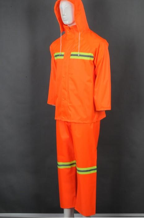 iG-BD-CN-129 网上下单订购橙色长袖套装雨褛制服 设计连帽反光条雨褛制服 雨褛制服生产商
