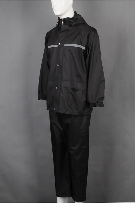 iG-BD-CN-128 制造长袖套装连帽雨褛制服 设计反光条雨褛制服  雨褛制服生产商