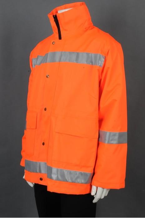 iG-BD-CN-126 来样订制橙色长袖拉链外套雨褛制服 设计橡筋袖口雨褛制服 雨褛制服生产商