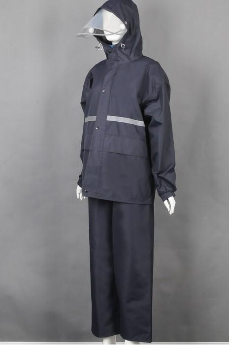 iG-BD-CN-125 网上下单订购黑色长袖套装雨褛制服 设计连帽反光条雨褛制服 雨褛制服中心