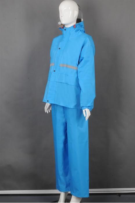 iG-BD-CN-124 订制蓝色长袖套装雨褛制服 设计单条反光条雨褛制服 雨褛制服专门店