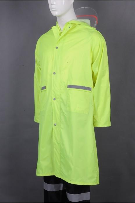 iG-BD-CN-122 制造荧光绿连帽雨褛制服 设计单条反光带雨褛制服 雨褛制服供应商