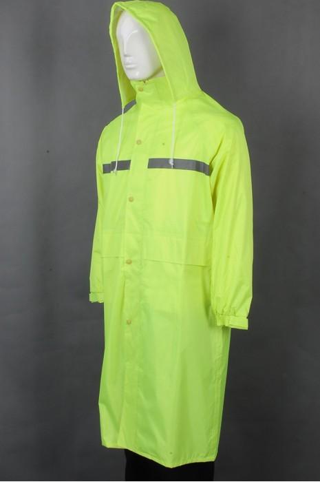 iG-BD-CN-120 订制橡筋魔术贴袖口雨褛制服 设计连帽抽绳过膝雨褛制服 雨褛制服中心