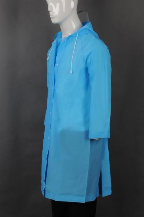 iG-BD-CN-119 订制蓝色连帽抽绳雨褛制服 设计拉链外套雨褛制服 雨褛制服中心